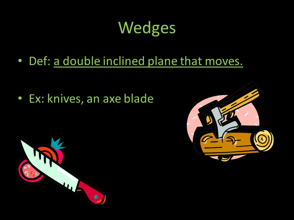 Wedges Def: a double inclined plane that moves.