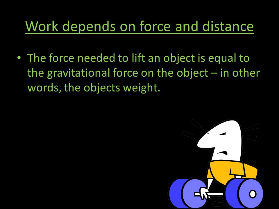 Work depends on force and distance