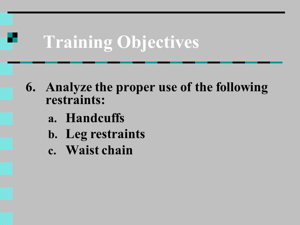 Training Objectives Analyze the proper use of the following restraints: Handcuffs. Leg restraints.