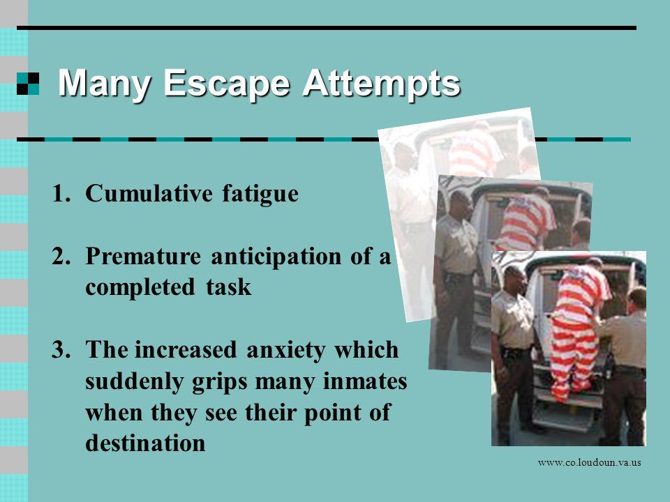 Many Escape Attempts Cumulative fatigue