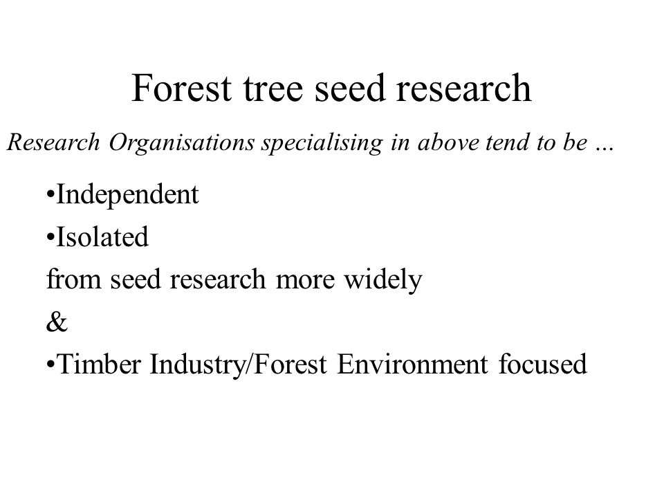 Forest tree seed research