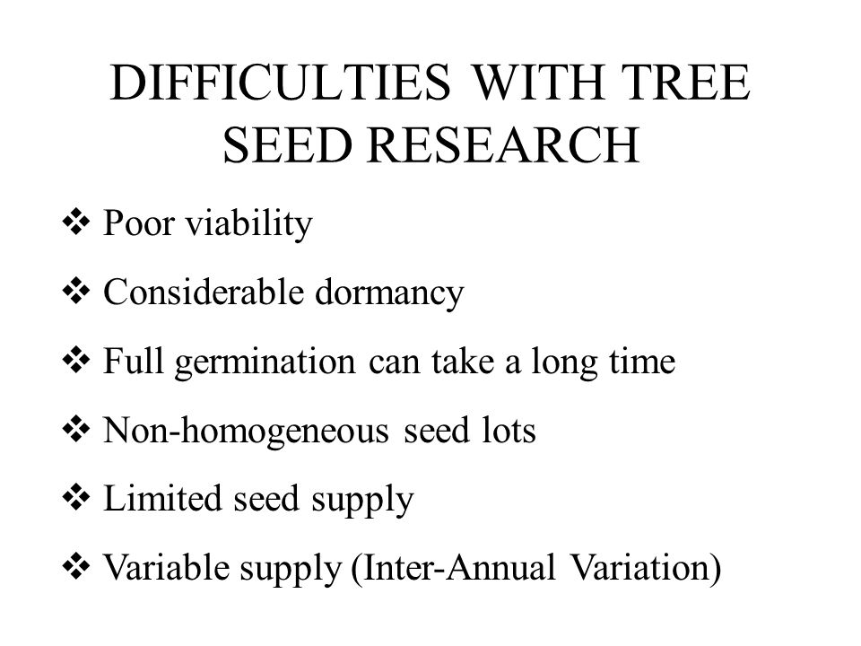 DIFFICULTIES WITH TREE SEED RESEARCH