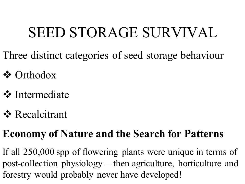 SEED STORAGE SURVIVAL Three distinct categories of seed storage behaviour. Orthodox. Intermediate.