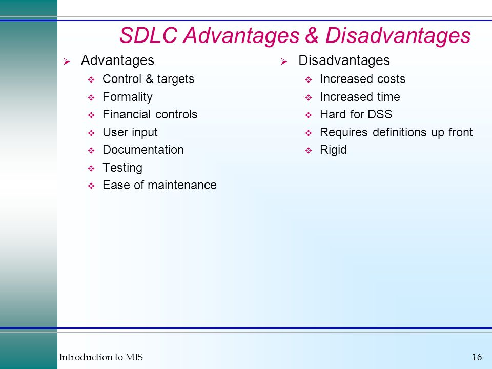 SDLC Advantages & Disadvantages