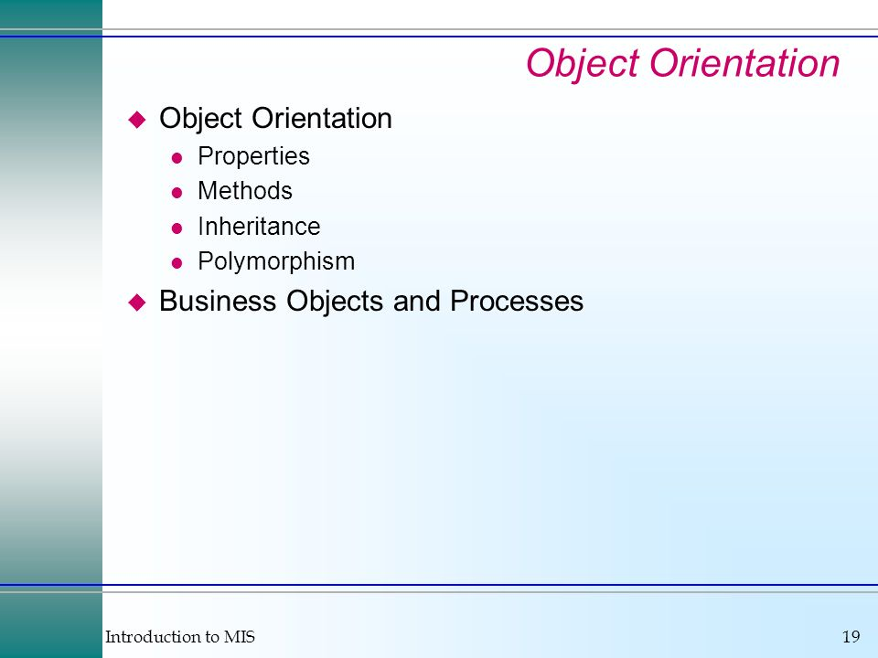 Object Orientation Object Orientation Business Objects and Processes