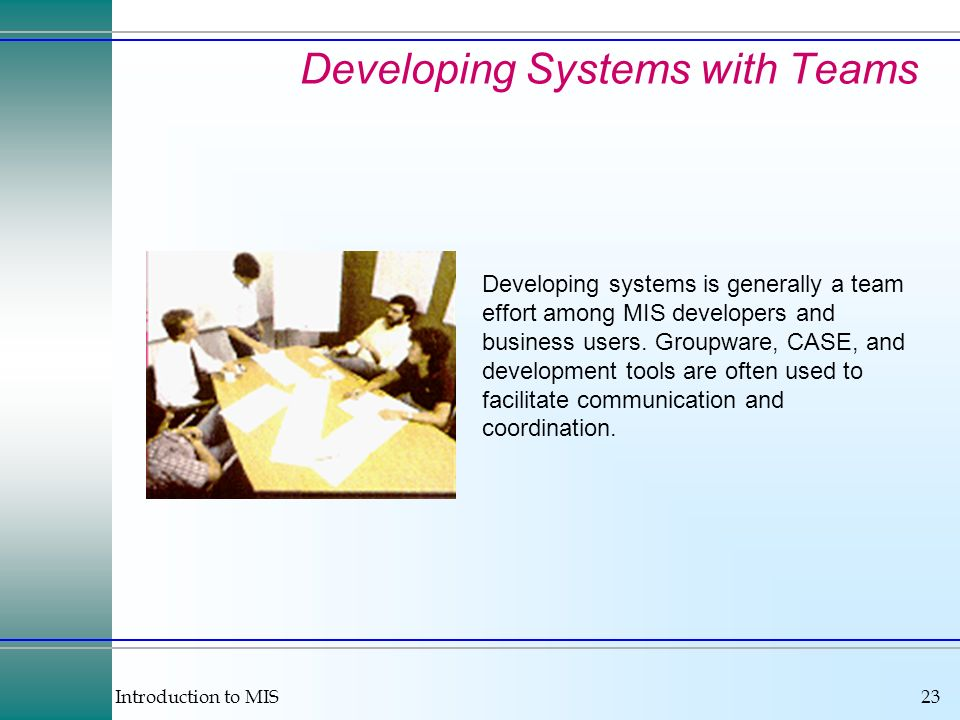 Developing Systems with Teams