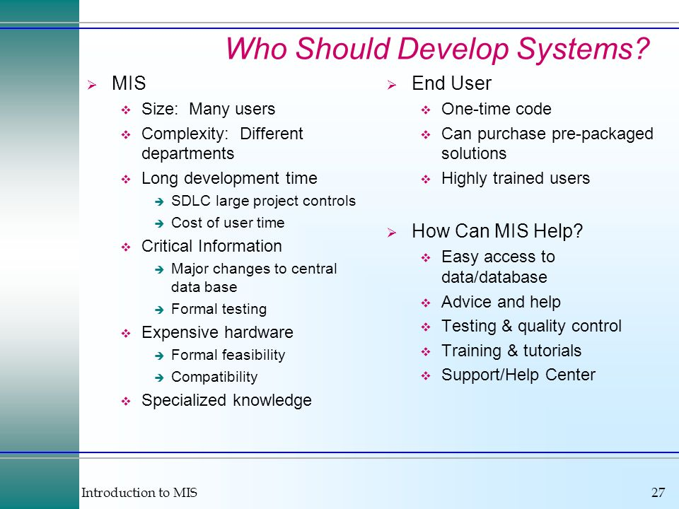 Who Should Develop Systems