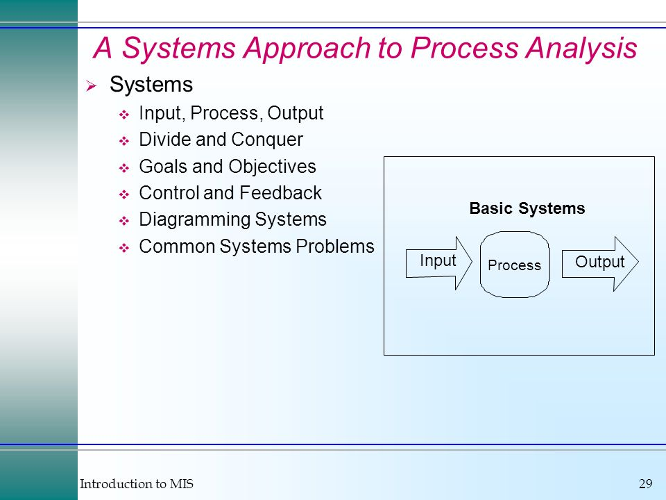 A Systems Approach to Process Analysis
