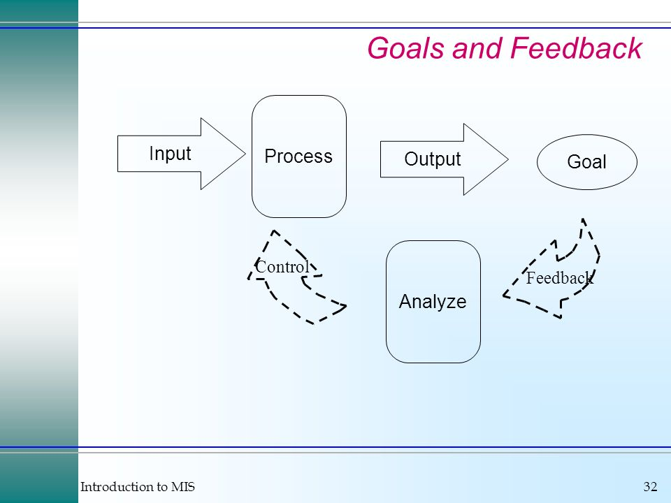 Goals and Feedback Process Input Output Goal Analyze Control Feedback