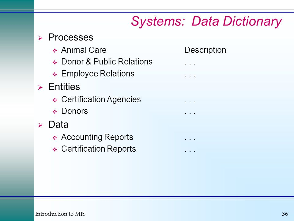 Systems: Data Dictionary