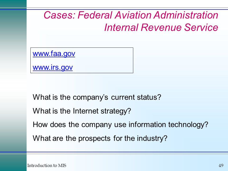 Cases: Federal Aviation Administration Internal Revenue Service