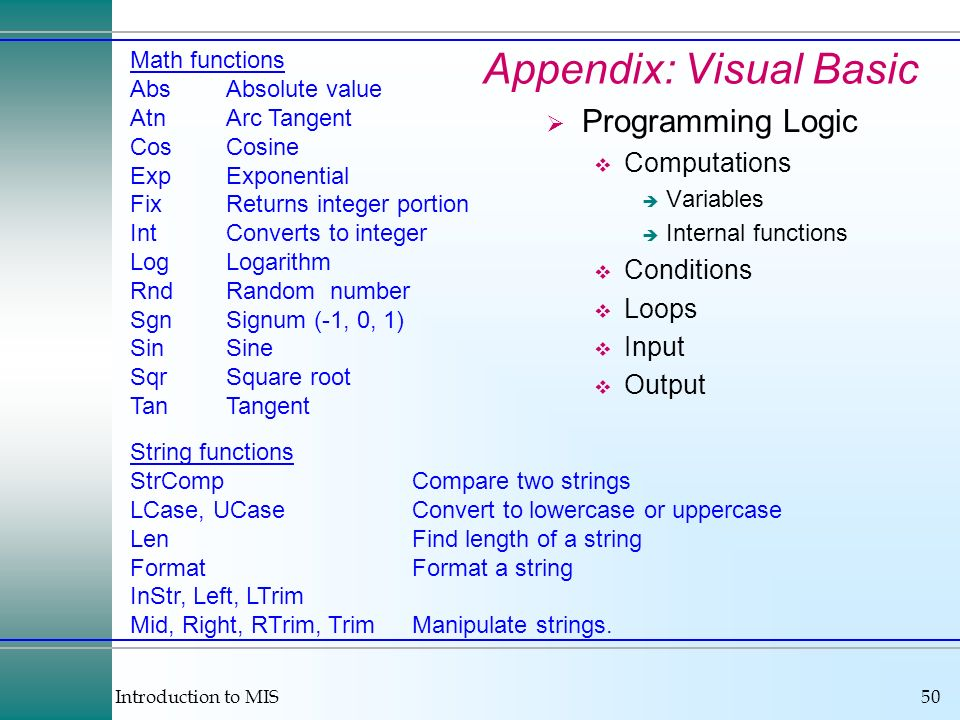 Appendix: Visual Basic