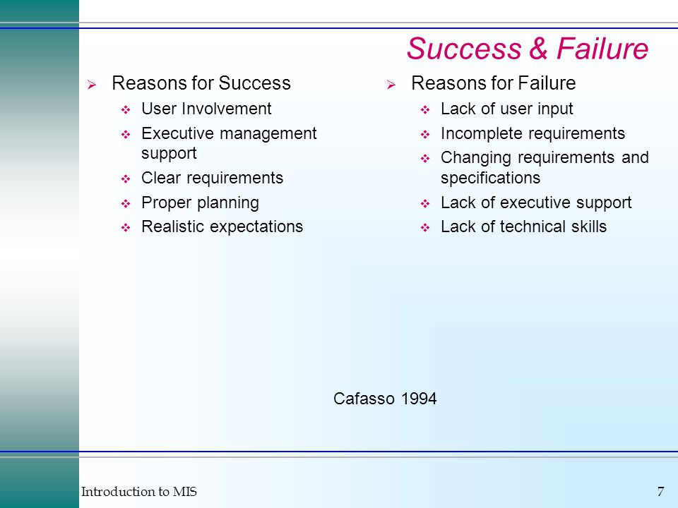 Success & Failure Reasons for Success Reasons for Failure
