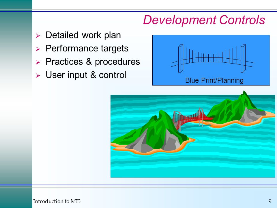 Development Controls Detailed work plan Performance targets