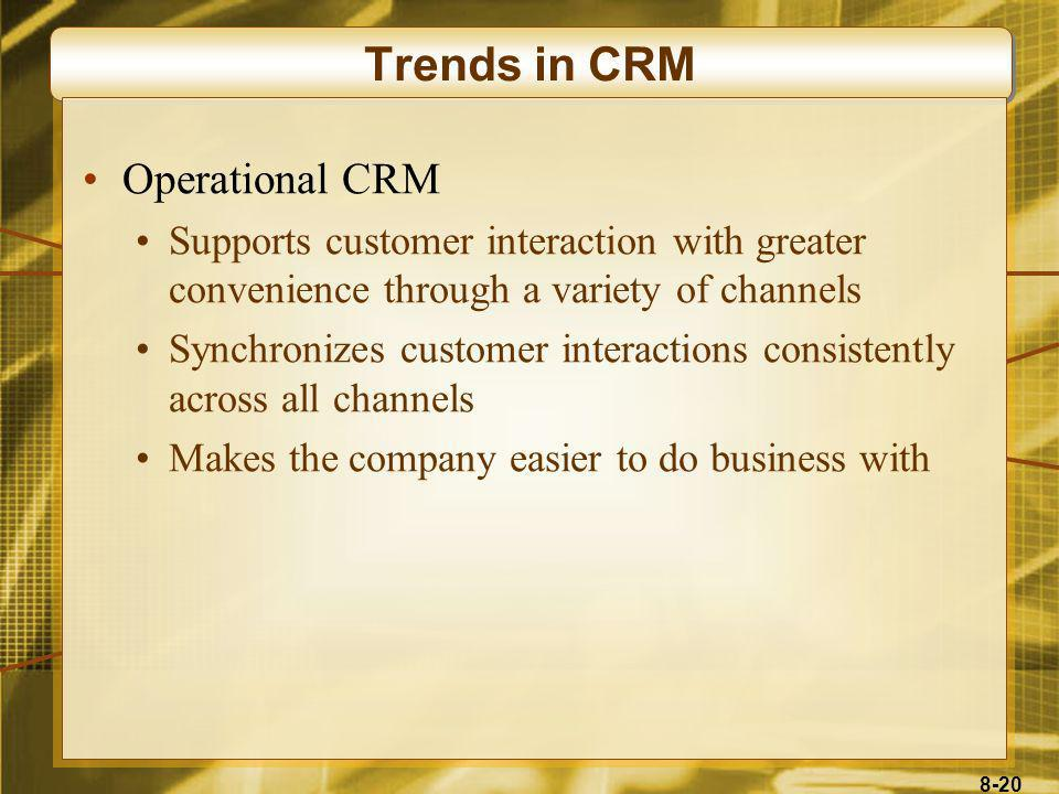 Trends in CRM Operational CRM
