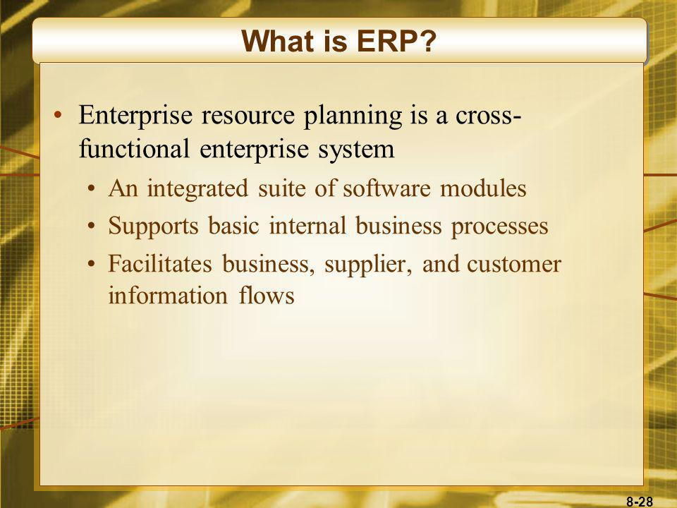 What is ERP Enterprise resource planning is a cross-functional enterprise system. An integrated suite of software modules.
