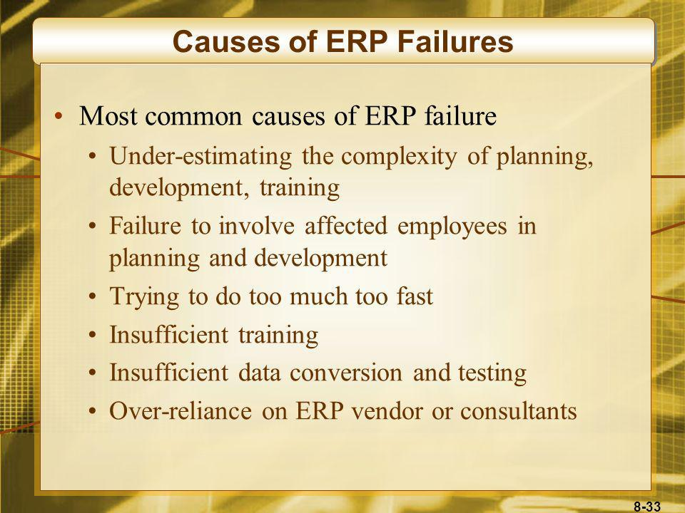 Causes of ERP Failures Most common causes of ERP failure