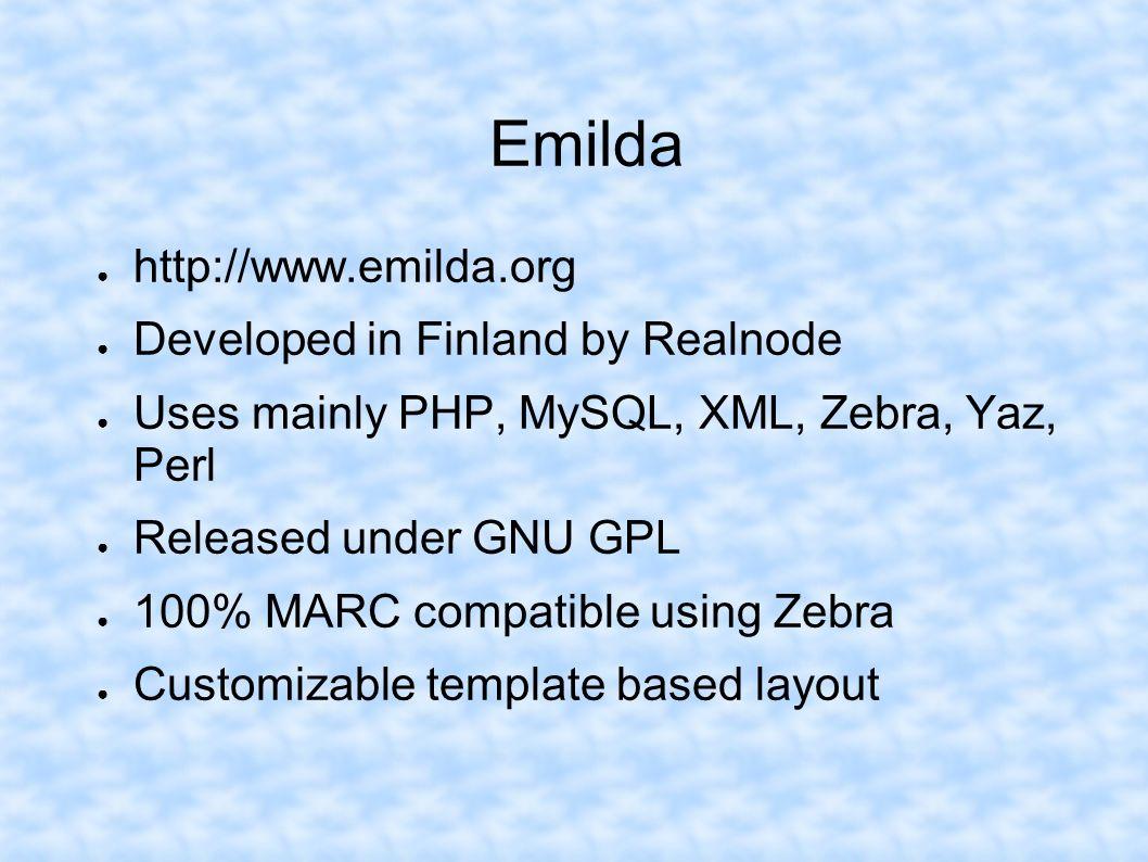 Emilda http://www.emilda.org Developed in Finland by Realnode