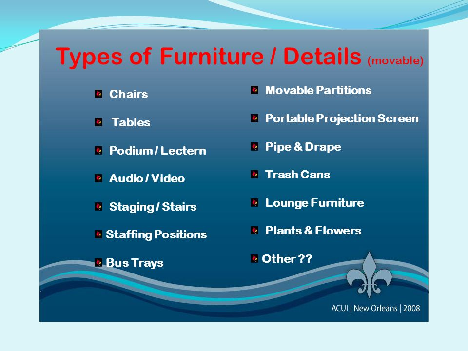 Types of Furniture / Details (movable)