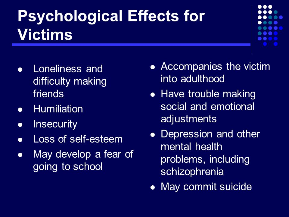 Psychological Effects for Victims