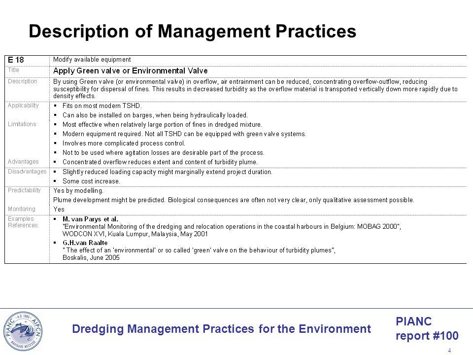 Description of Management Practices