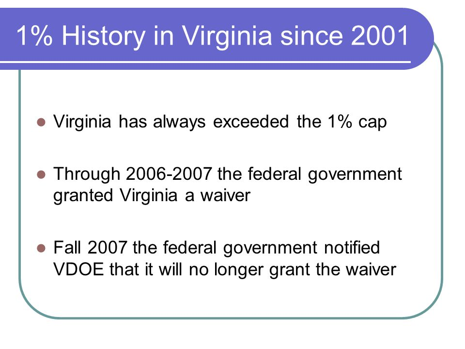 1% History in Virginia since 2001