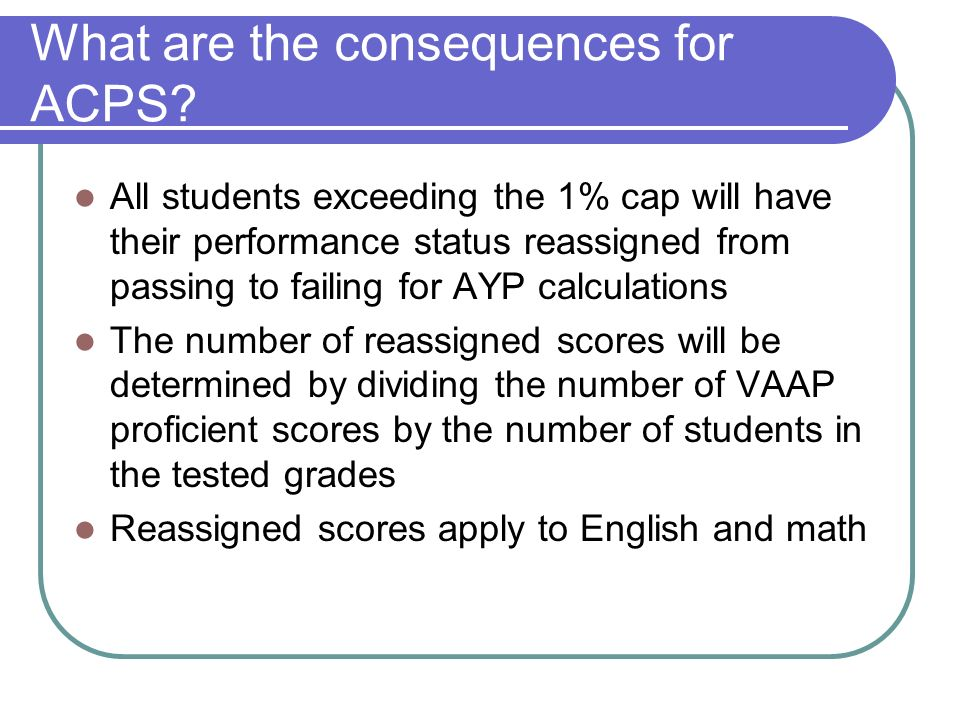 What are the consequences for ACPS