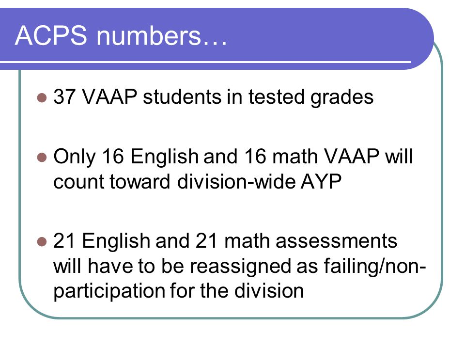 ACPS numbers… 37 VAAP students in tested grades