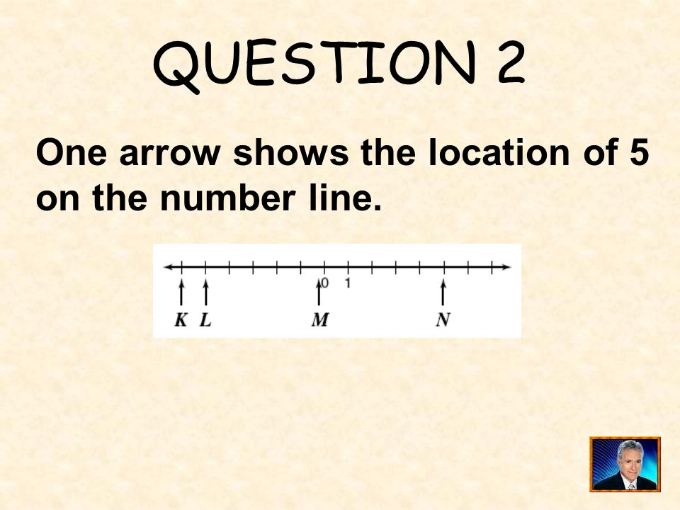 QUESTION 2 One arrow shows the location of 5 on the number line.