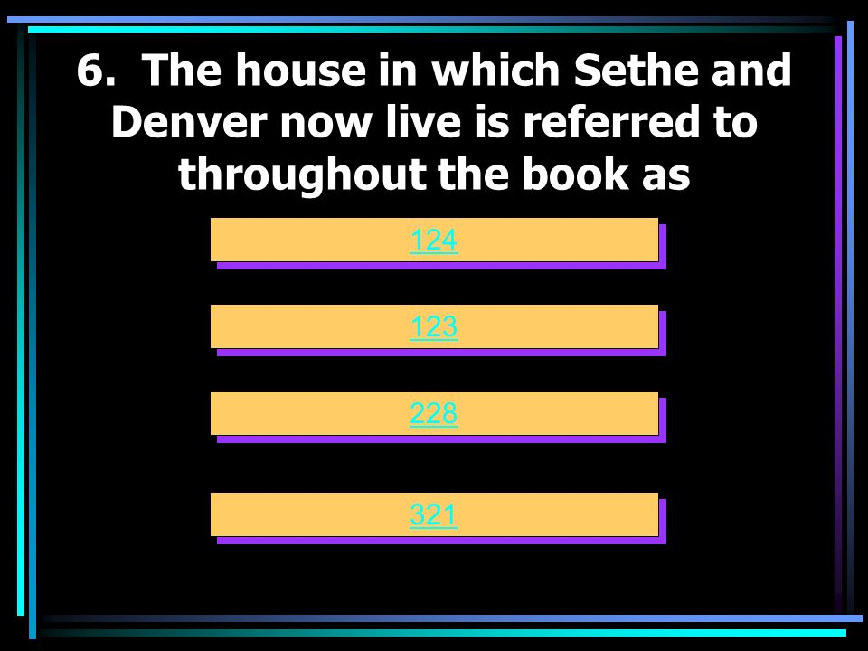 6. The house in which Sethe and Denver now live is referred to throughout the book as