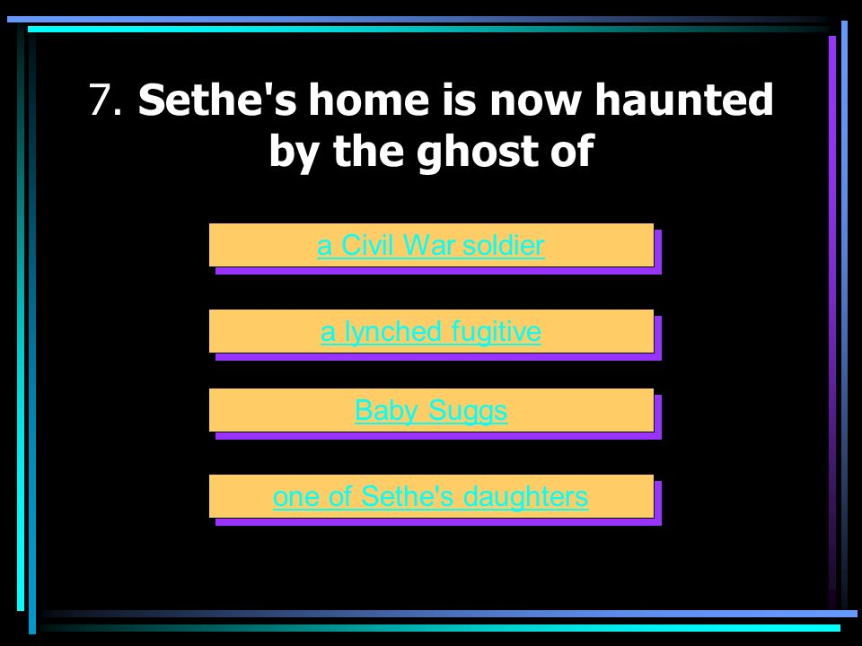 7. Sethe s home is now haunted by the ghost of