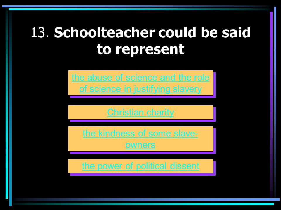 13. Schoolteacher could be said to represent