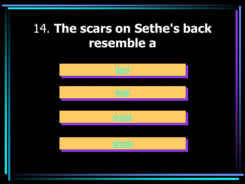14. The scars on Sethe s back resemble a
