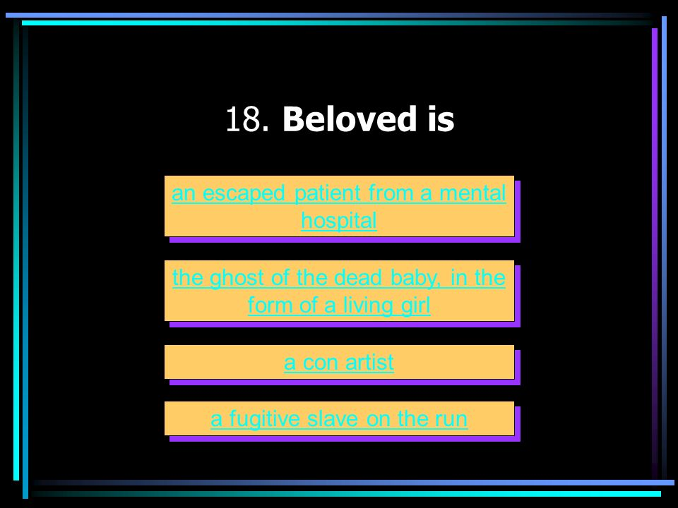 18. Beloved is an escaped patient from a mental hospital