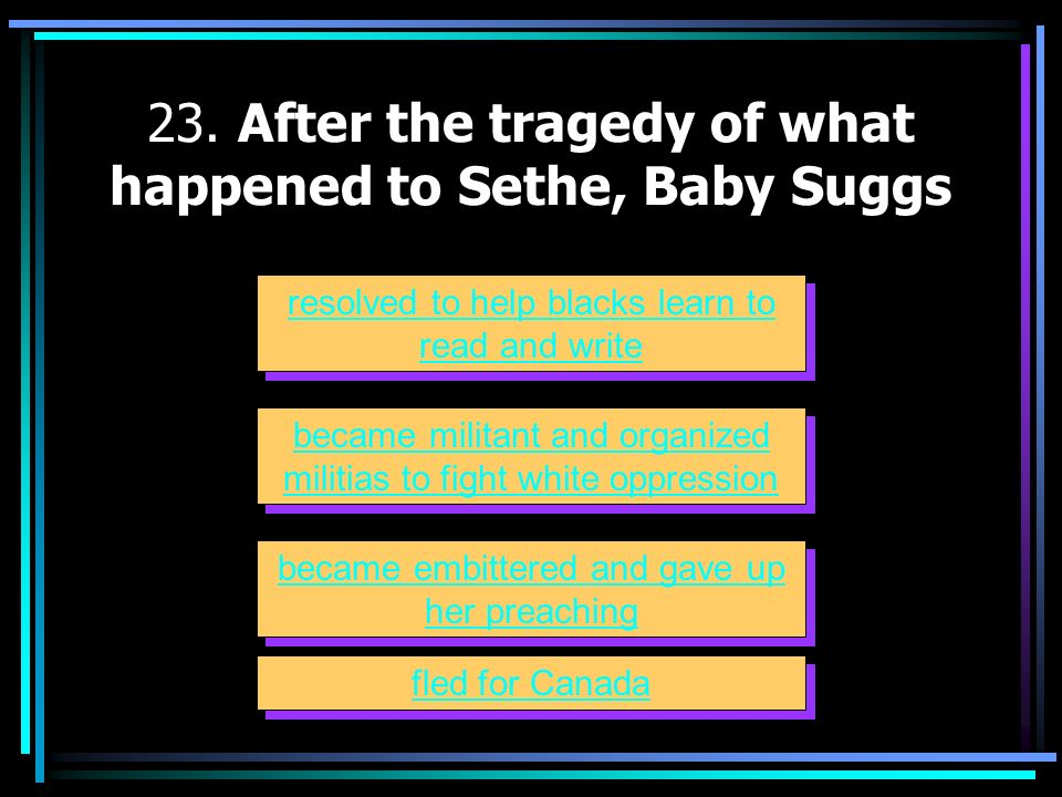 23. After the tragedy of what happened to Sethe, Baby Suggs