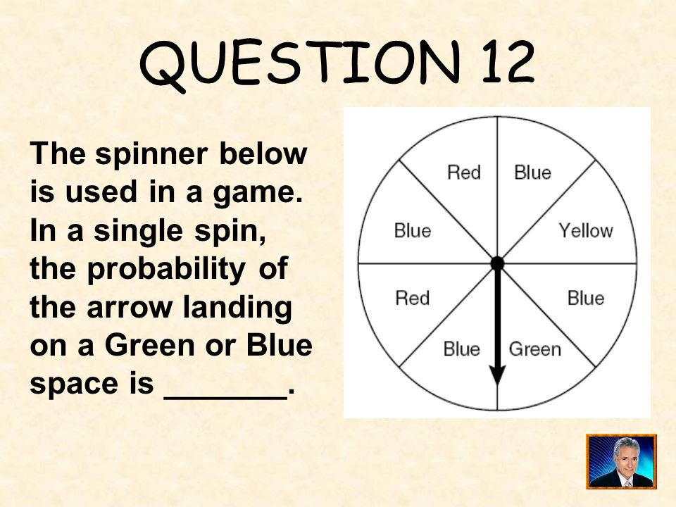QUESTION 12 The spinner below is used in a game.