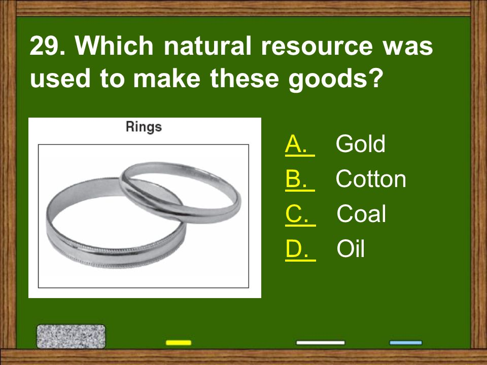 29. Which natural resource was used to make these goods