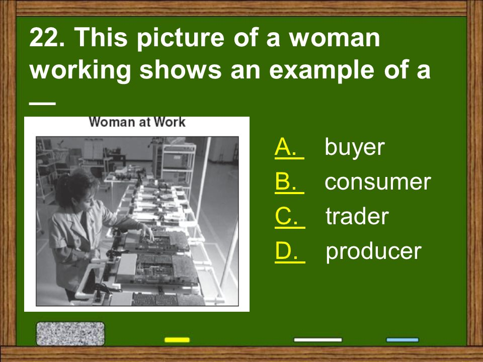 22. This picture of a woman working shows an example of a —