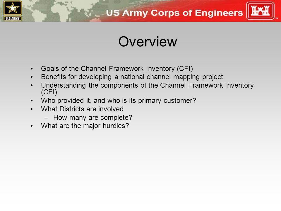 Overview Goals of the Channel Framework Inventory (CFI)