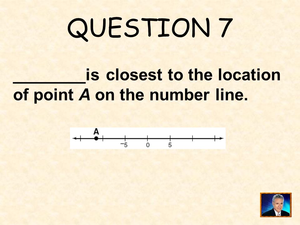 QUESTION 7 ________is closest to the location of point A on the number line.