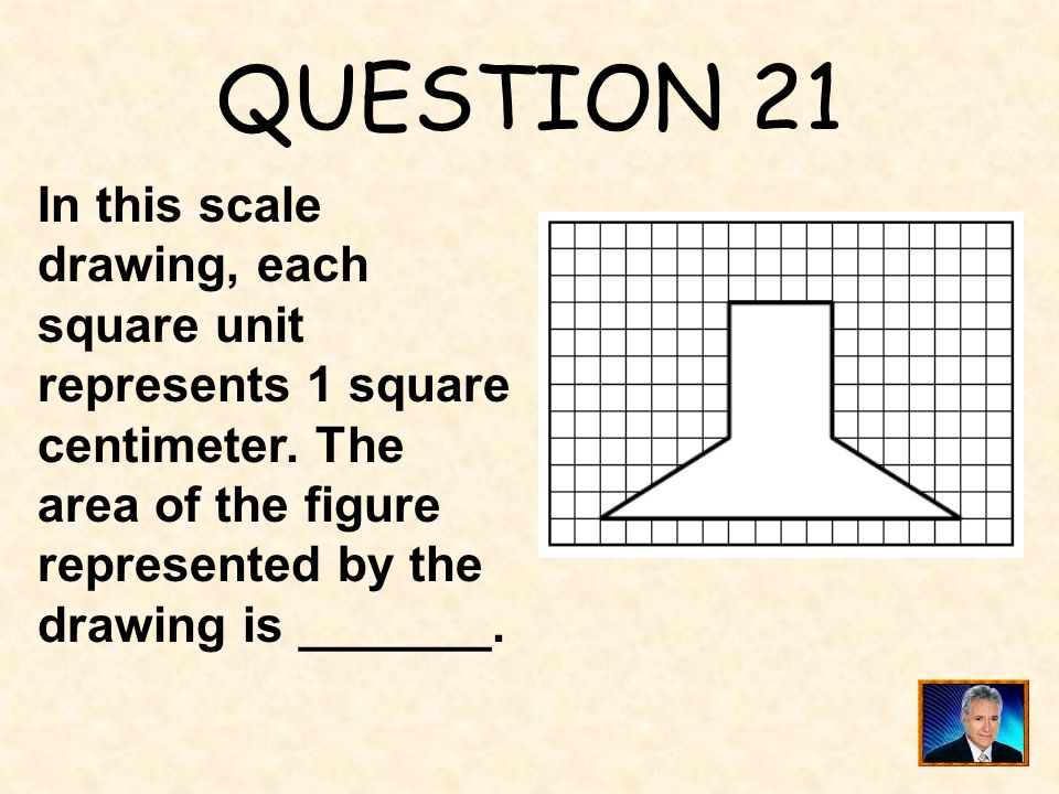 QUESTION 21 In this scale drawing, each square unit