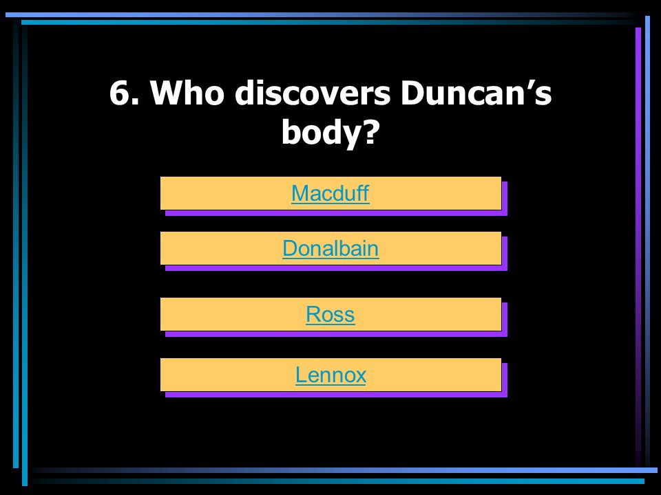 6. Who discovers Duncan's body