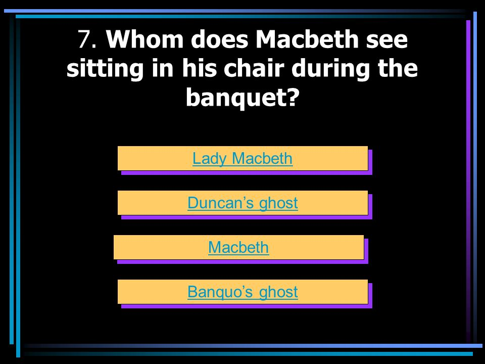 7. Whom does Macbeth see sitting in his chair during the banquet