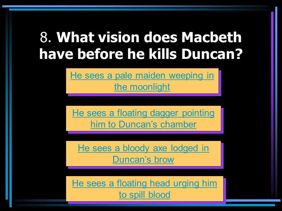 8. What vision does Macbeth have before he kills Duncan