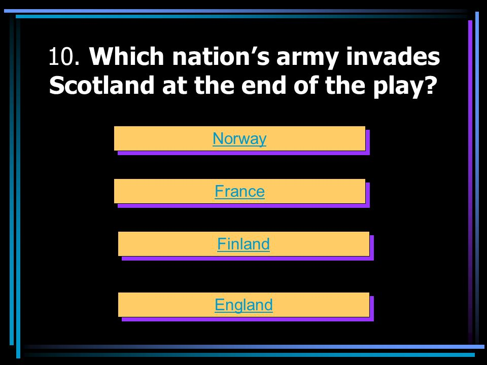 10. Which nation's army invades Scotland at the end of the play