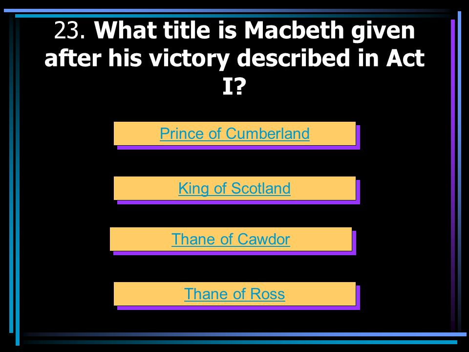 23. What title is Macbeth given after his victory described in Act I
