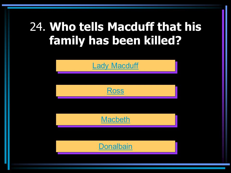 24. Who tells Macduff that his family has been killed