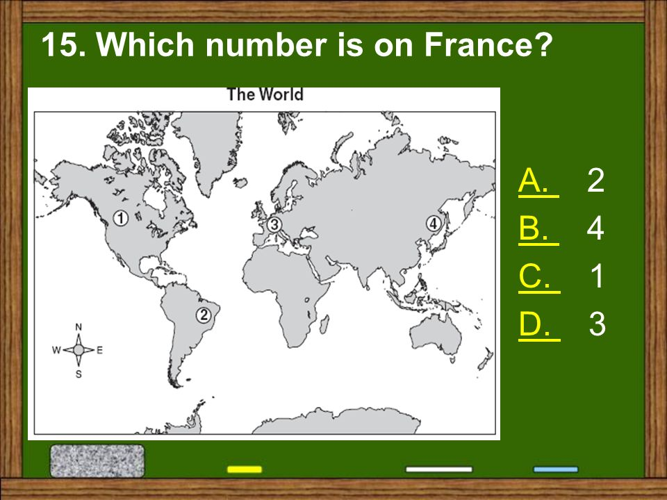 15. Which number is on France