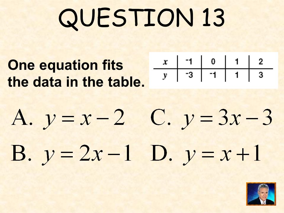 QUESTION 13 One equation fits the data in the table.