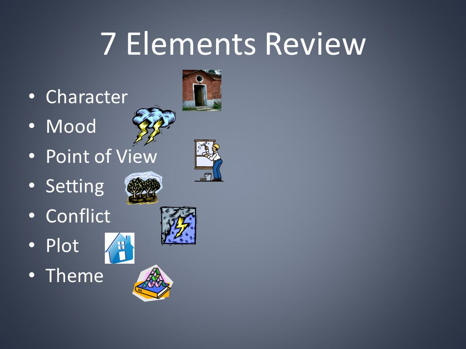 7 Elements Review Character Mood Point of View Setting Conflict Plot